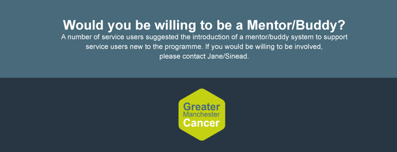 Would you be willing to be a mentor / buddy? A number of service users suggested the introduction of a mentor / buddy system to support service users new to the programme. if you would be willing to be involved, please contact Jane or Sinaed.