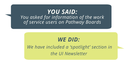 You said: you asked for information of the work of service users on pathway boards. We did: we have included a spotlight section in this newsletter.